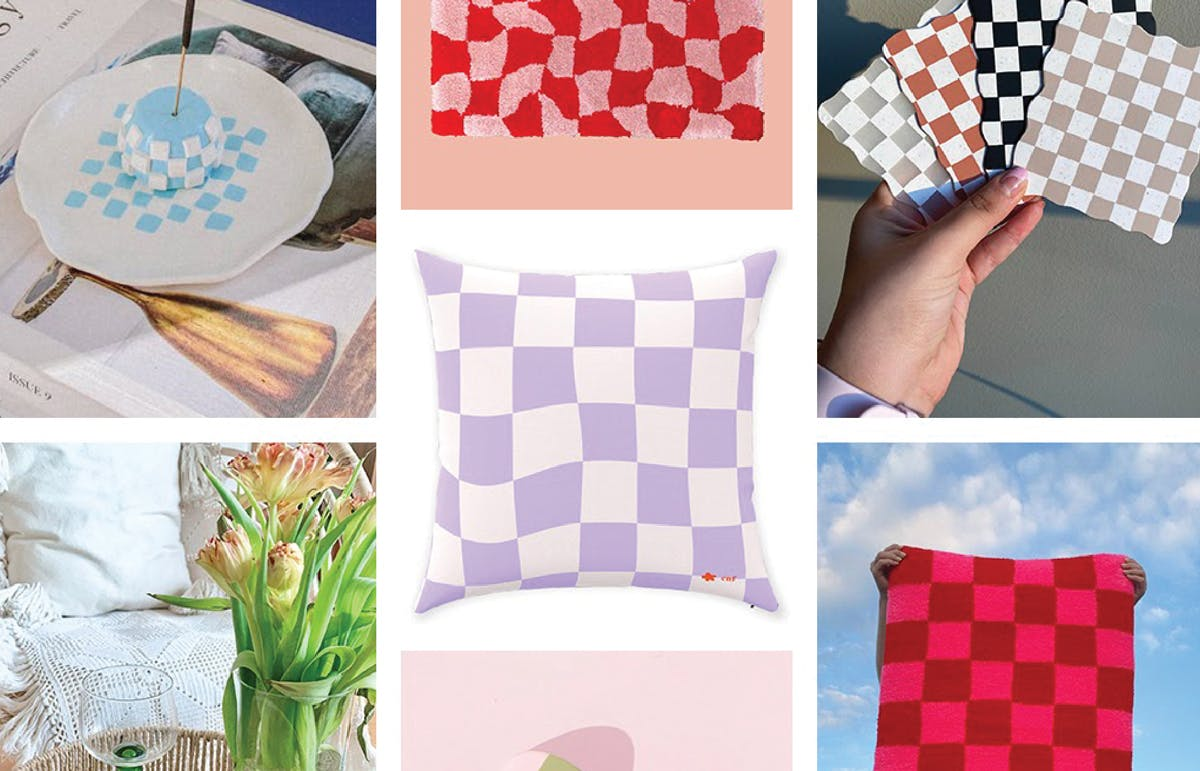 Checkered pillows, fabric, and plates