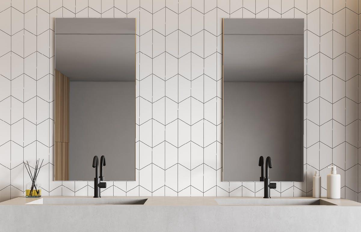 Herringbone bathroom tiles