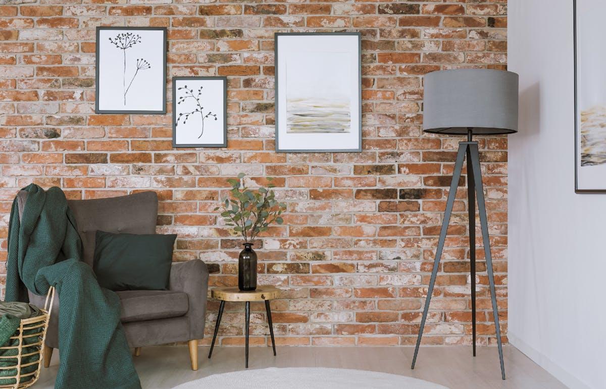 Upcycled interior brick wall