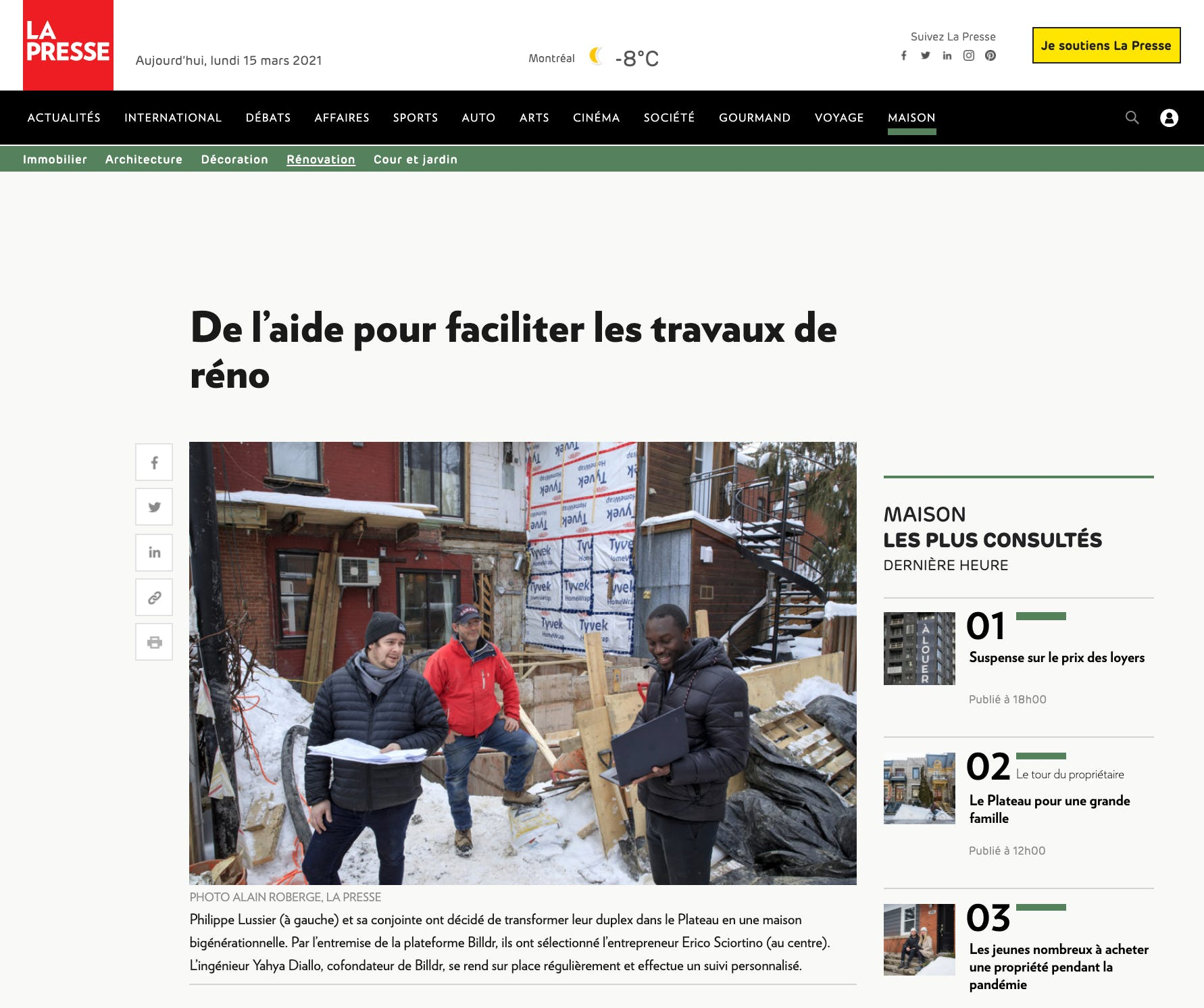Billdr home extension project featured on La presse