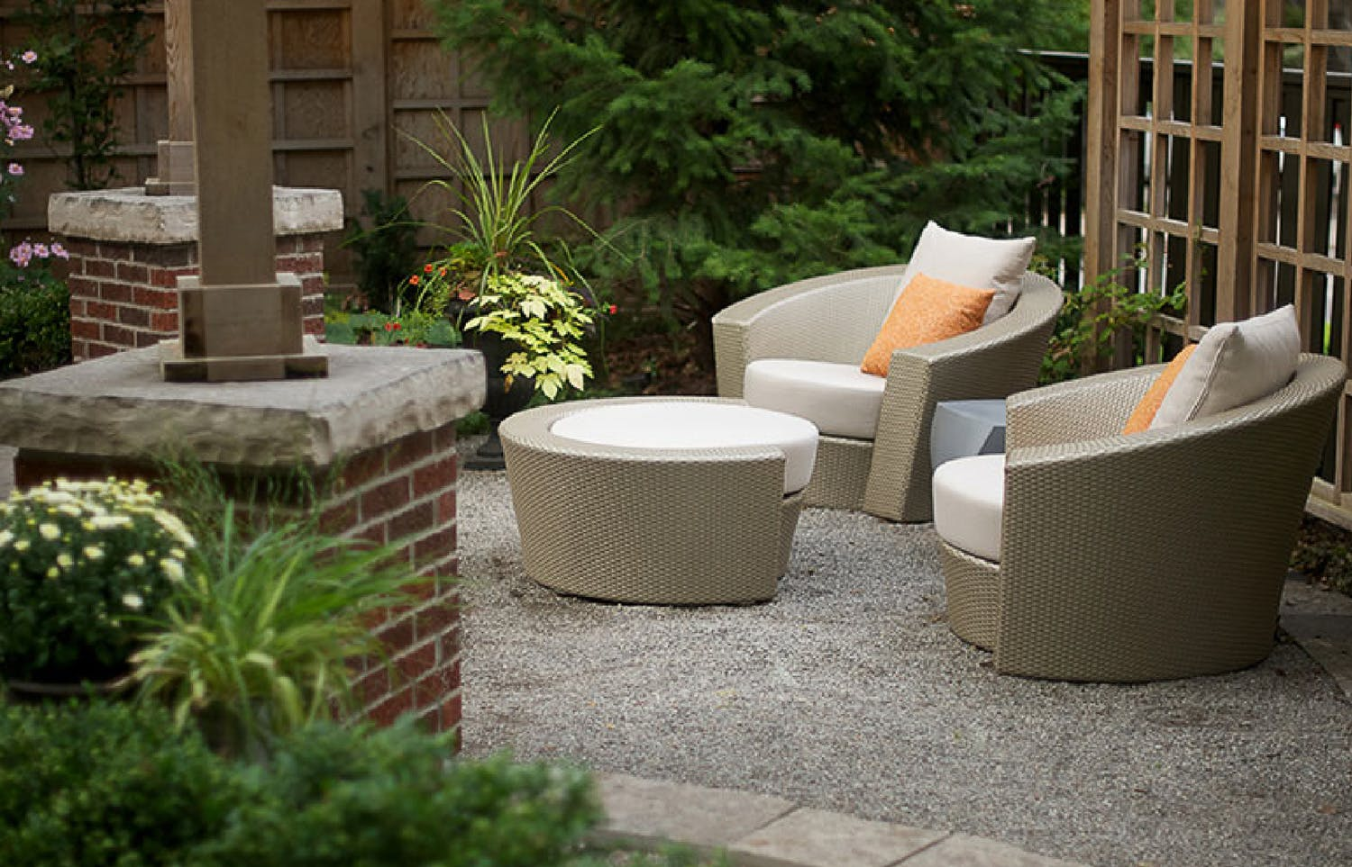 A backyard seating area