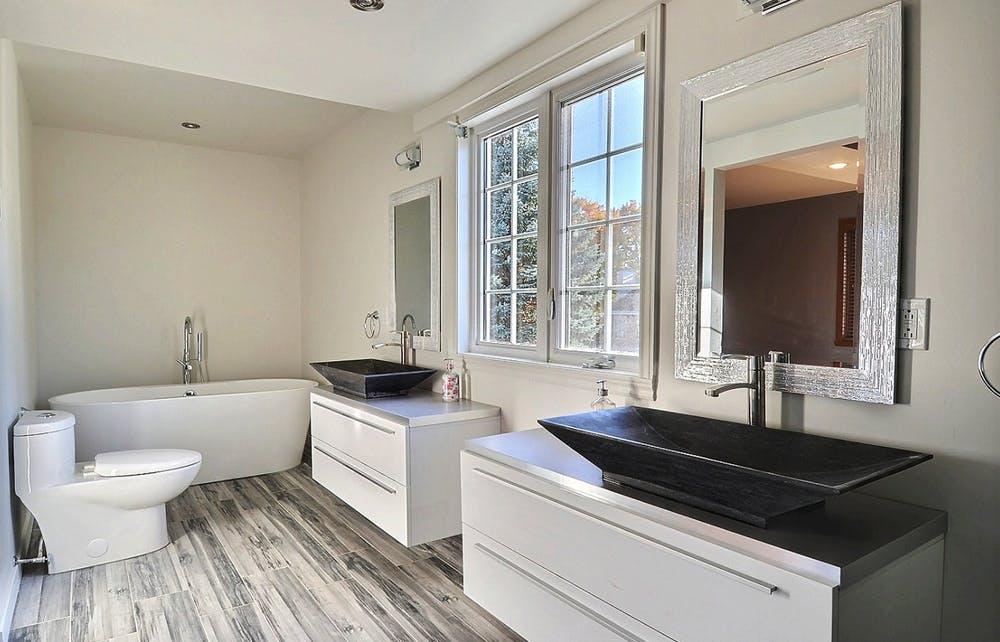 Luxury bathroom with two vanities