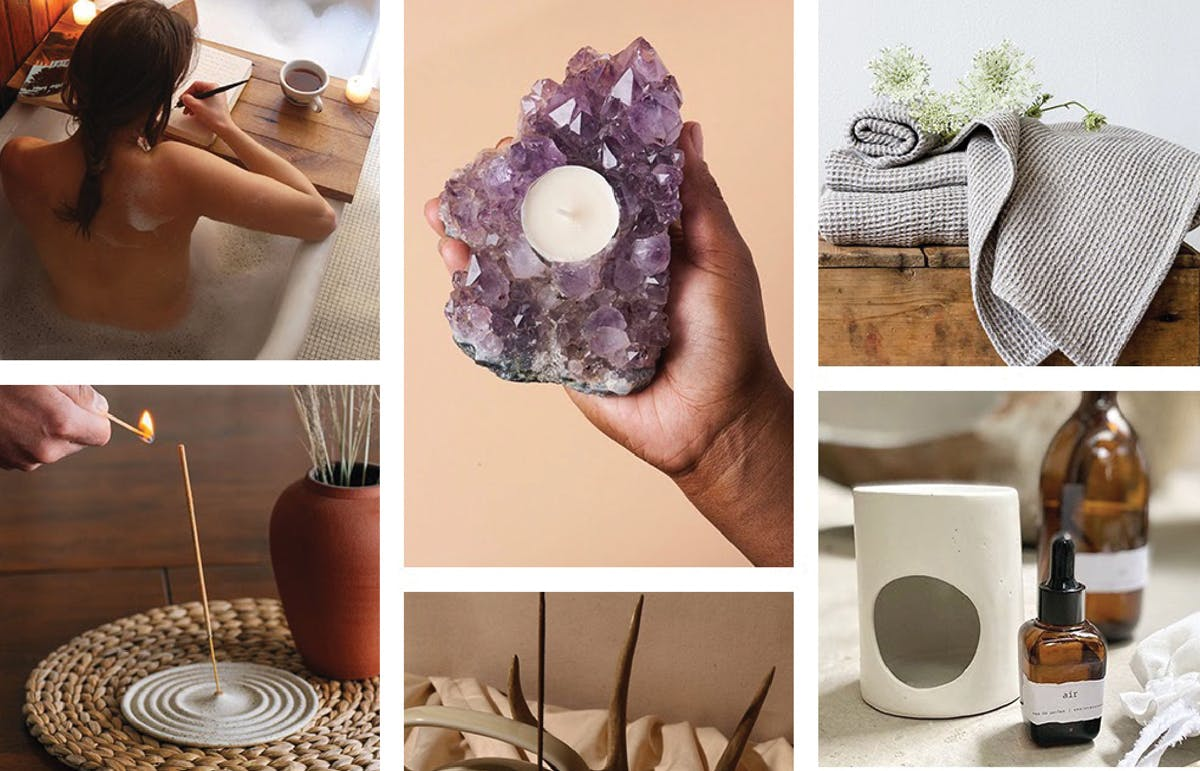 Crystals, candles and infusers to create a stress-free sanctuary