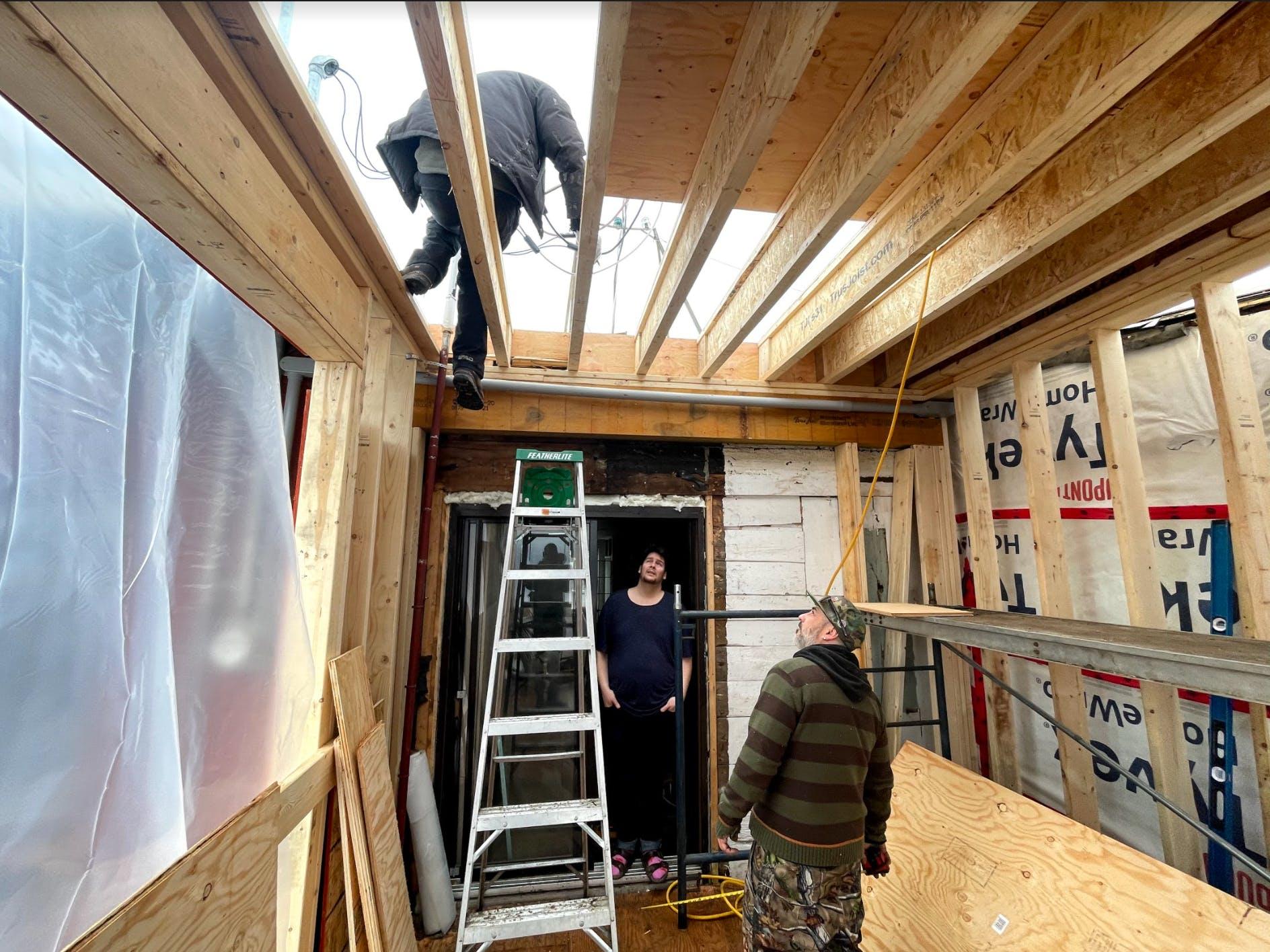 First floor extension in progress