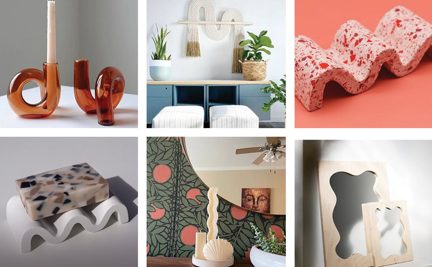 Squiggly-line-inspired candle holders, soap trays, and picture frames