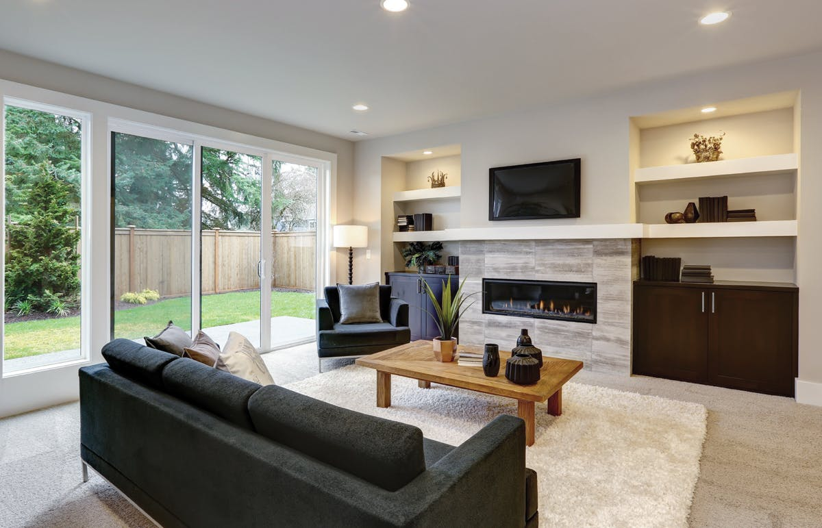 A living room with integrated entertainment system