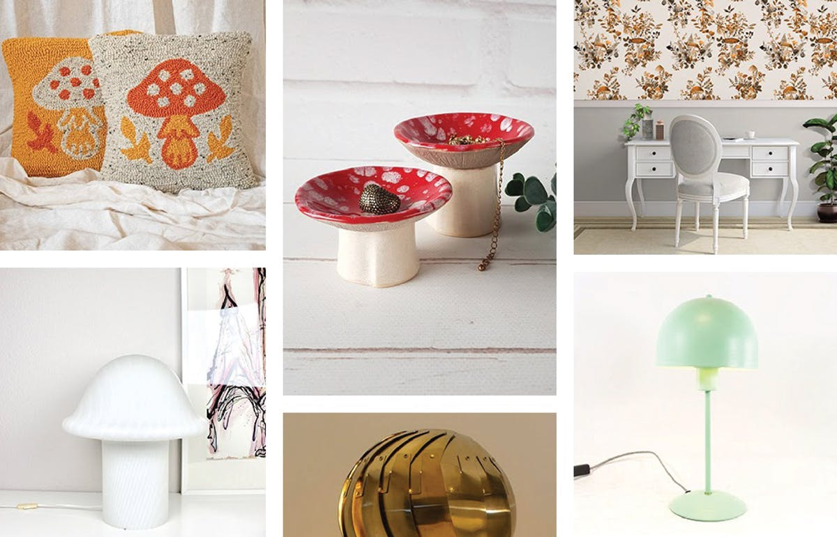 Lamps and pillows with a mushroom motif