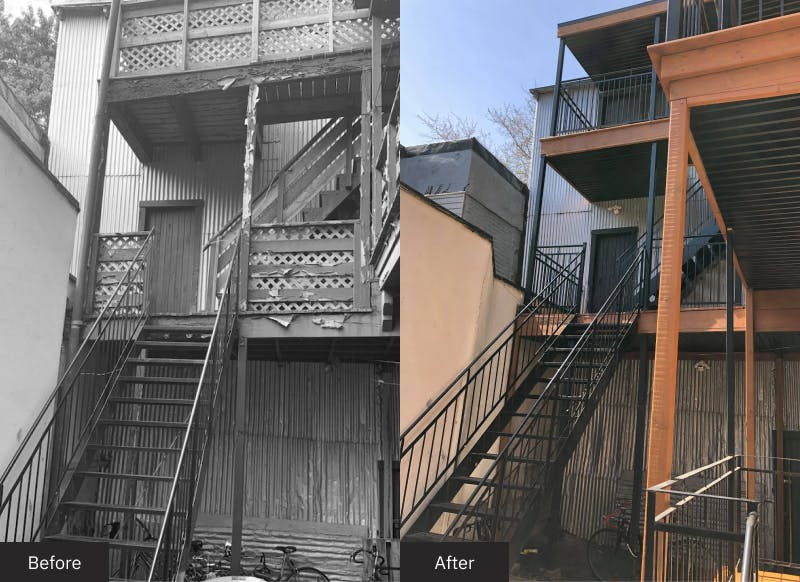 Before and after balcony renovation