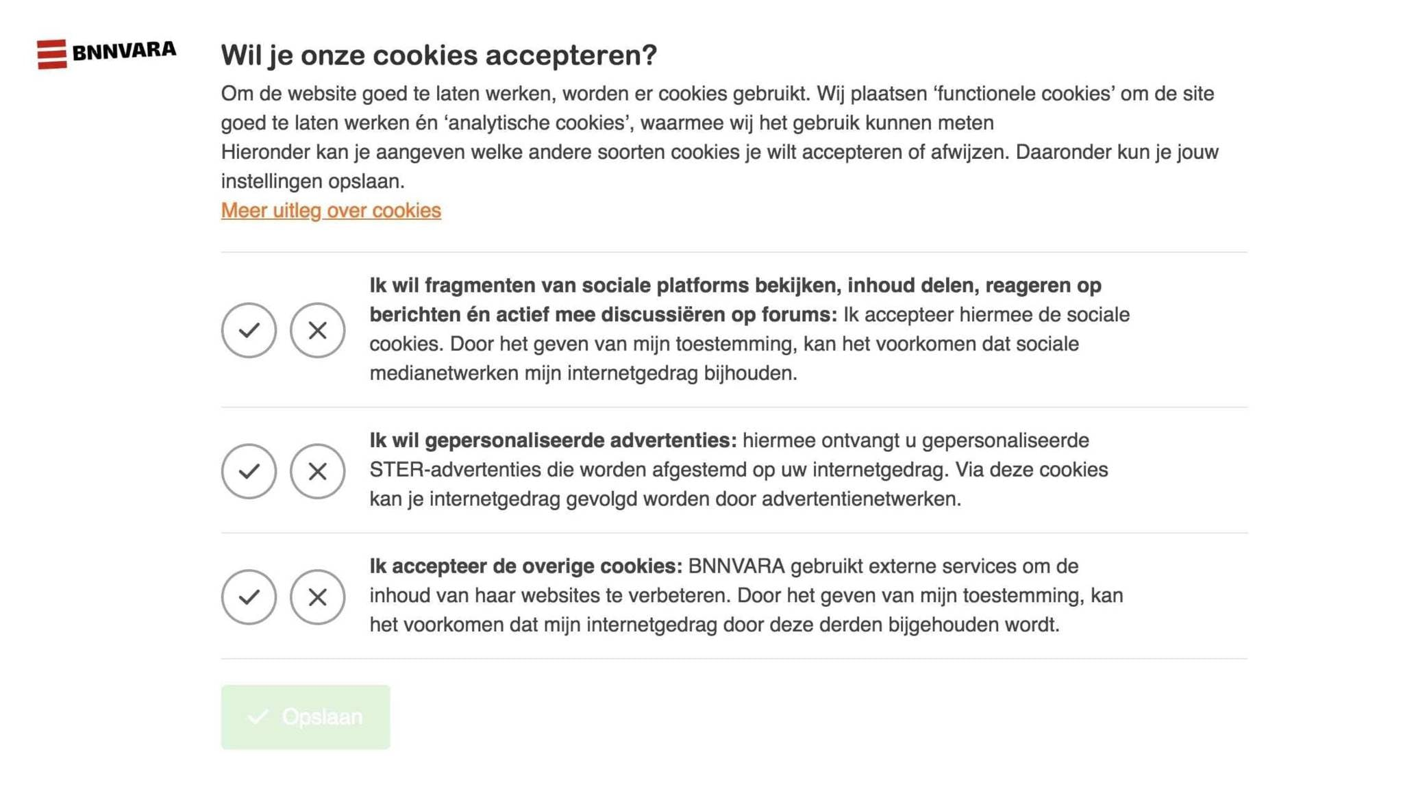 A cookie banner from the Dutch Public Broadcasting System (NPO).