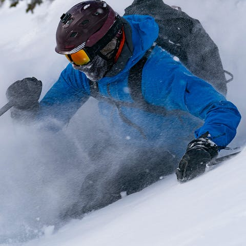 Skiing powder in the backcountry.