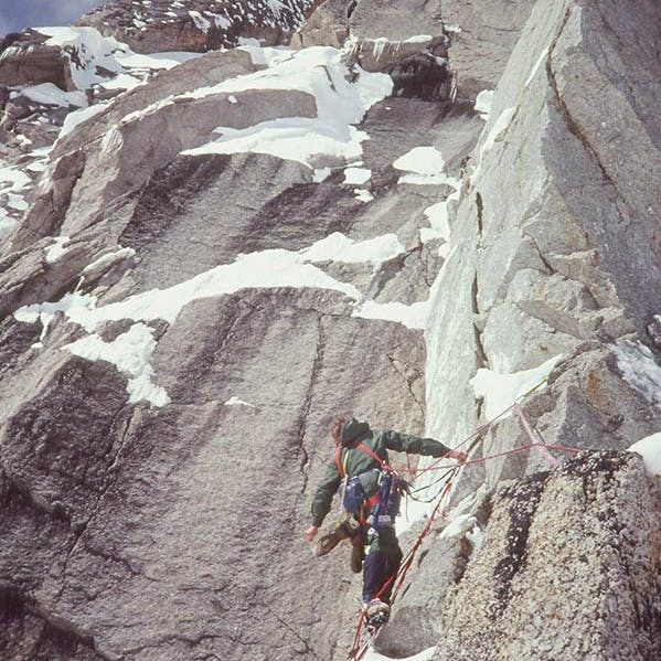 Climber on the Southeast Spur of Mt Hunter