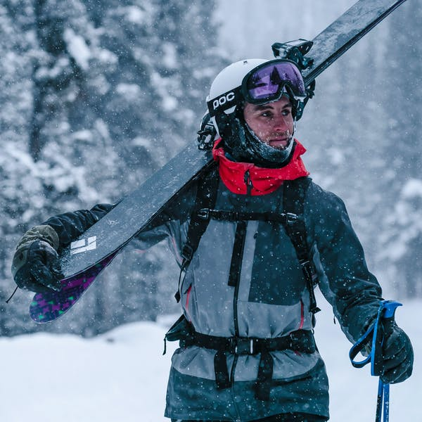 Isaac Freeland walking through the snow