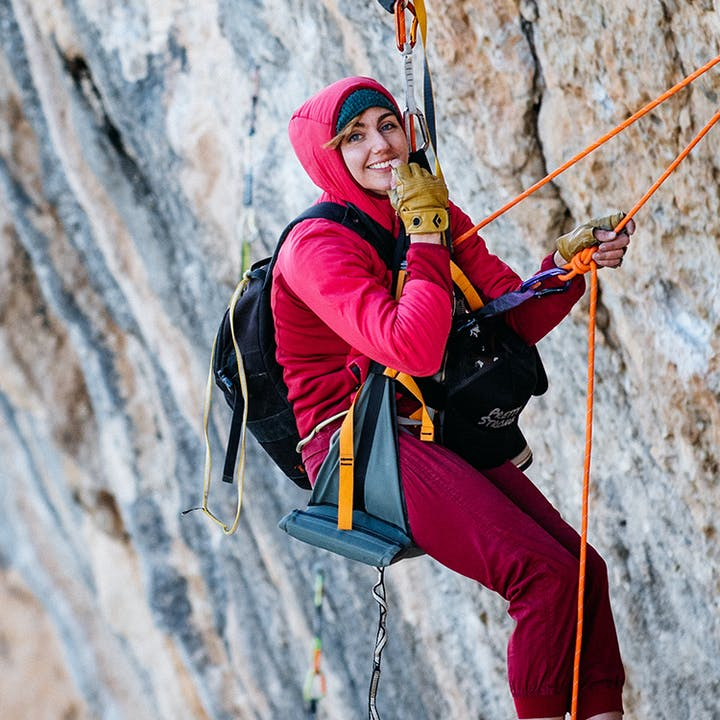 BD Athlete Colette Mcinerney hanging on a big wall climb