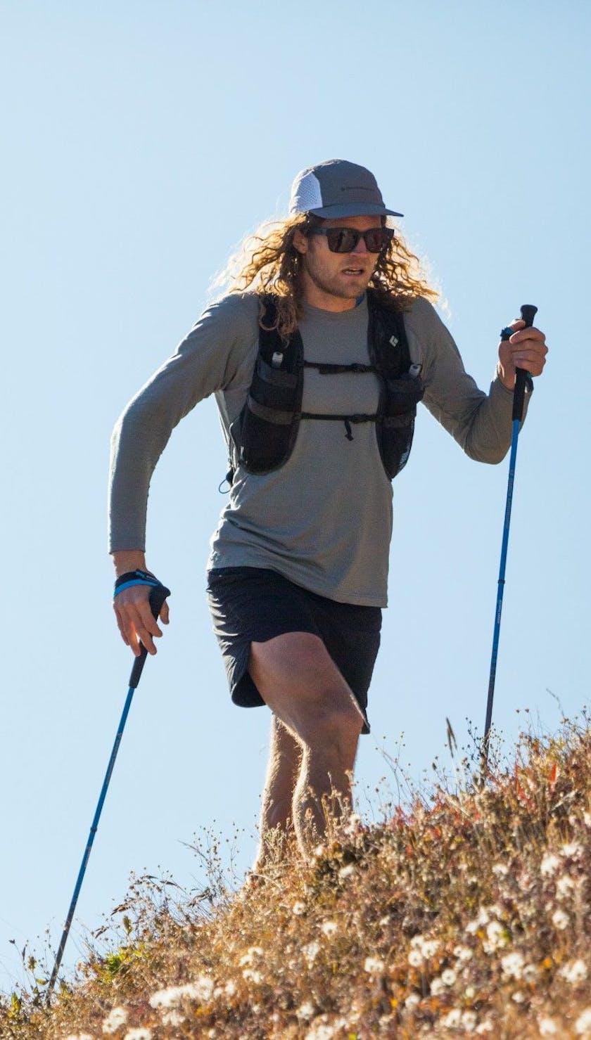 Joe Grant trail running using the Distance Carbon FLZ poles