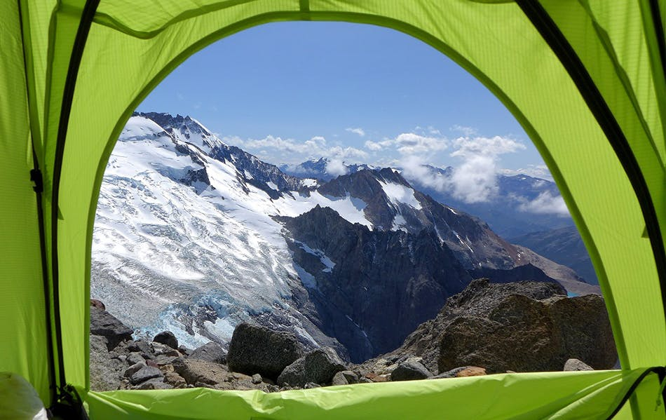 view of the mountains from tent