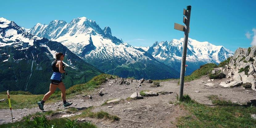 Black Diamond athlete Hillary Gerardi running the 90k du Mont Blanc