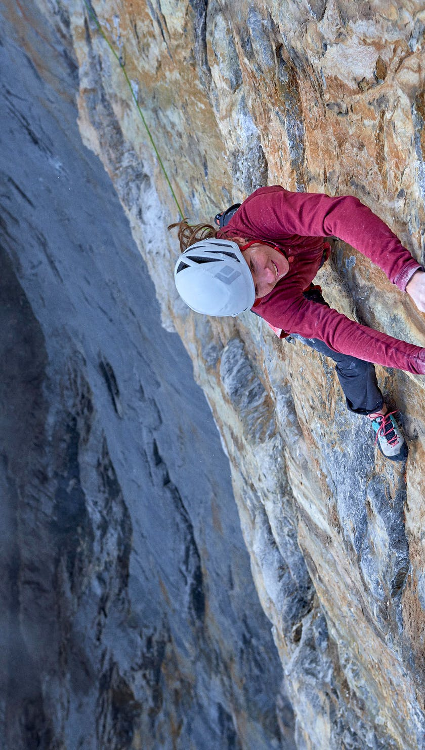 Babsi Zangerl climbs Odyssee 8a+ (5.13c) on the North Face of the Eiger