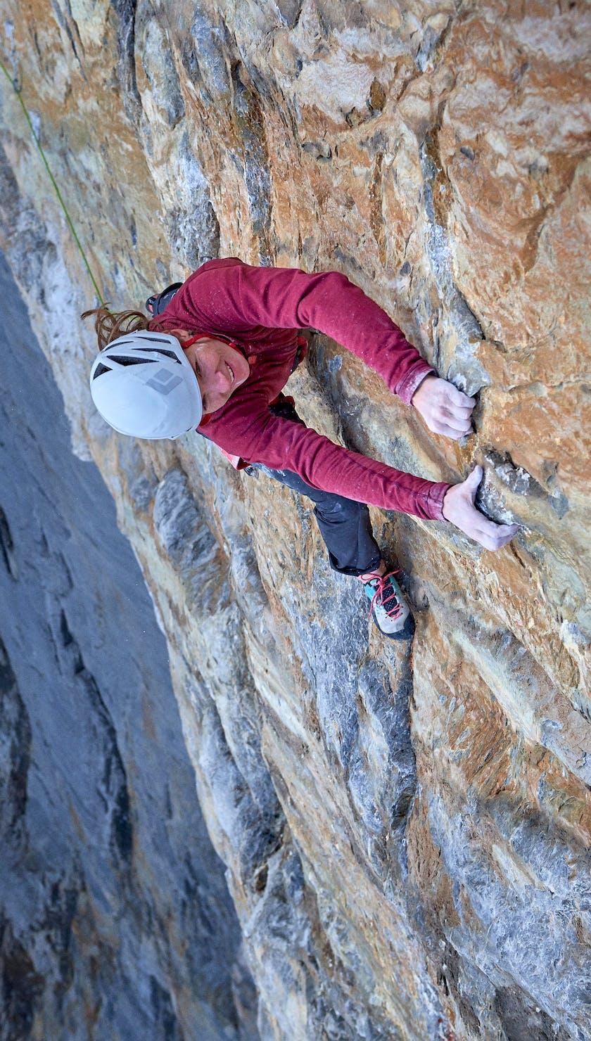 Black Diamond athlete Babsi Zangerl climbing Odyssee 8a+ (5.13c) on the Eiger