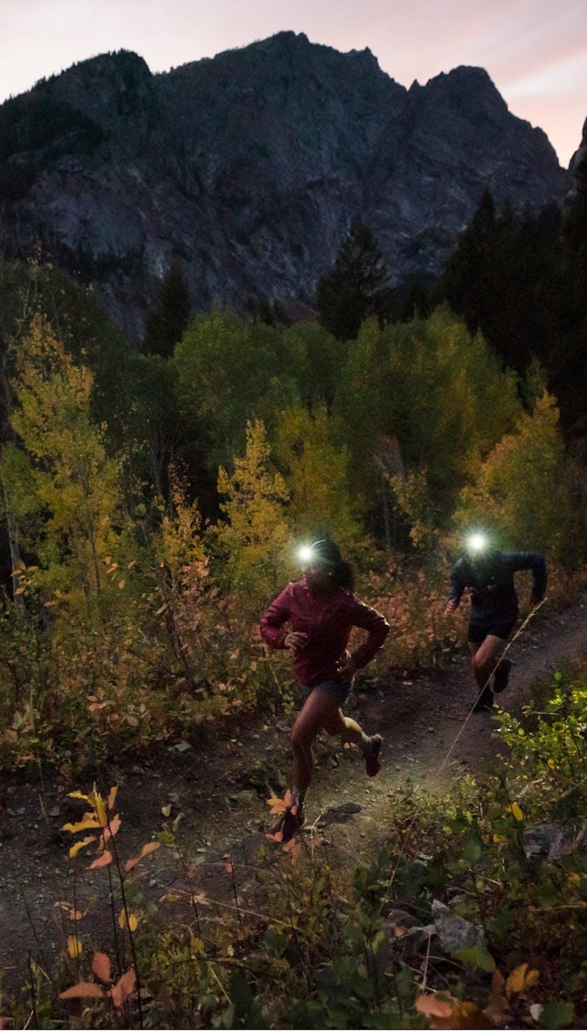 Runners testing out the Black Diamond Sprinter 500 Headlamp.