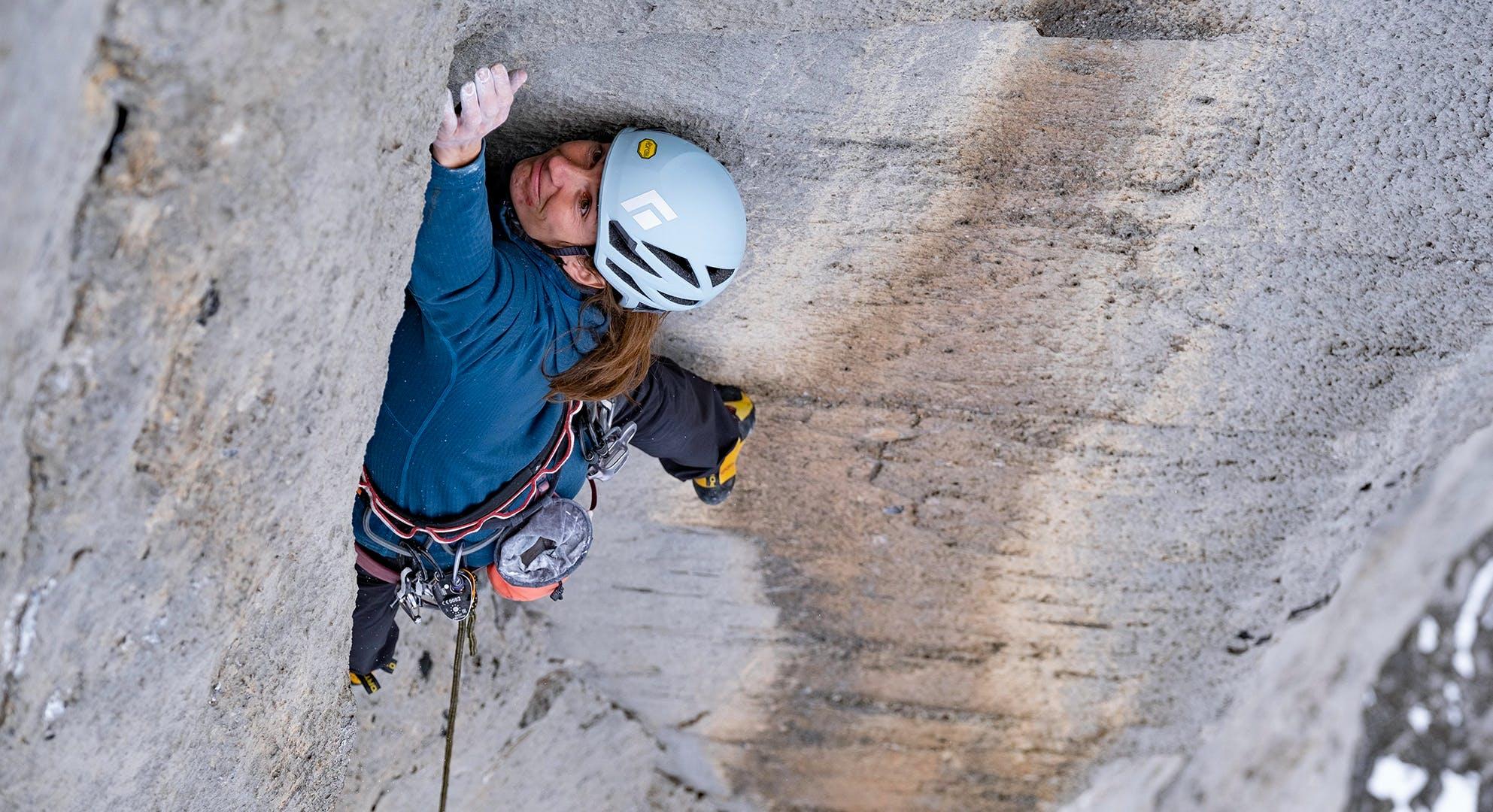 Black Diamond athlete Babsi Zangerl climbing the Eiger