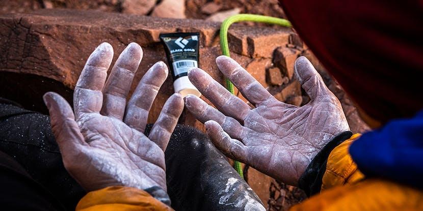 Climber's hands with Black Diamond chalk