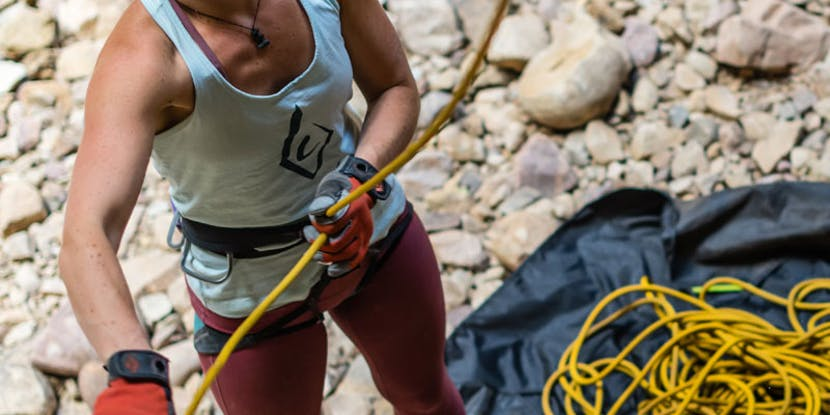 woman belaying with a BD rope
