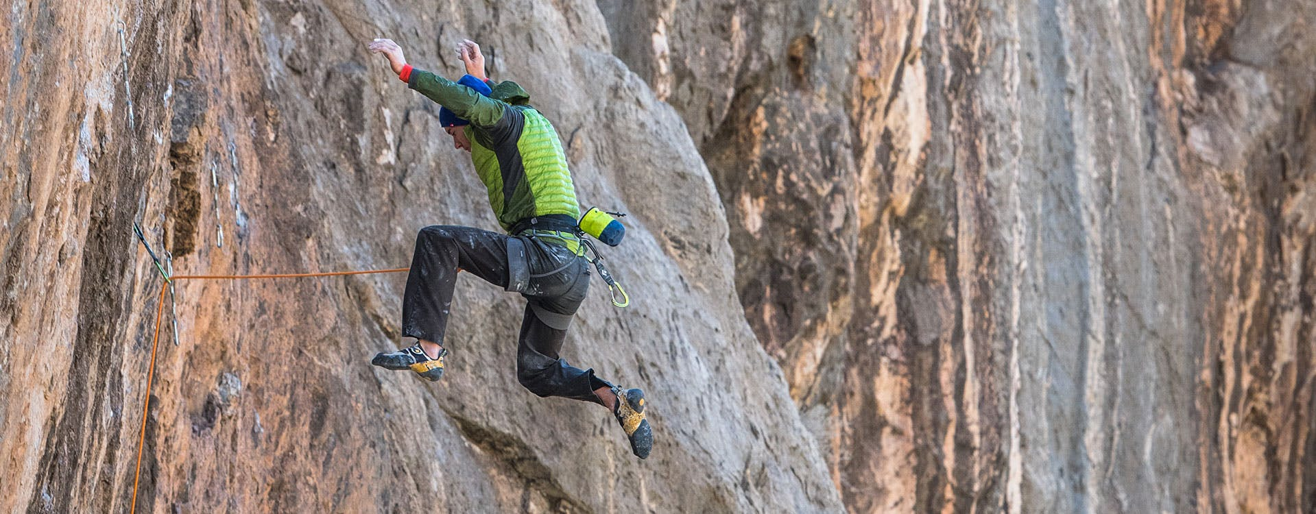 climber falling off a route