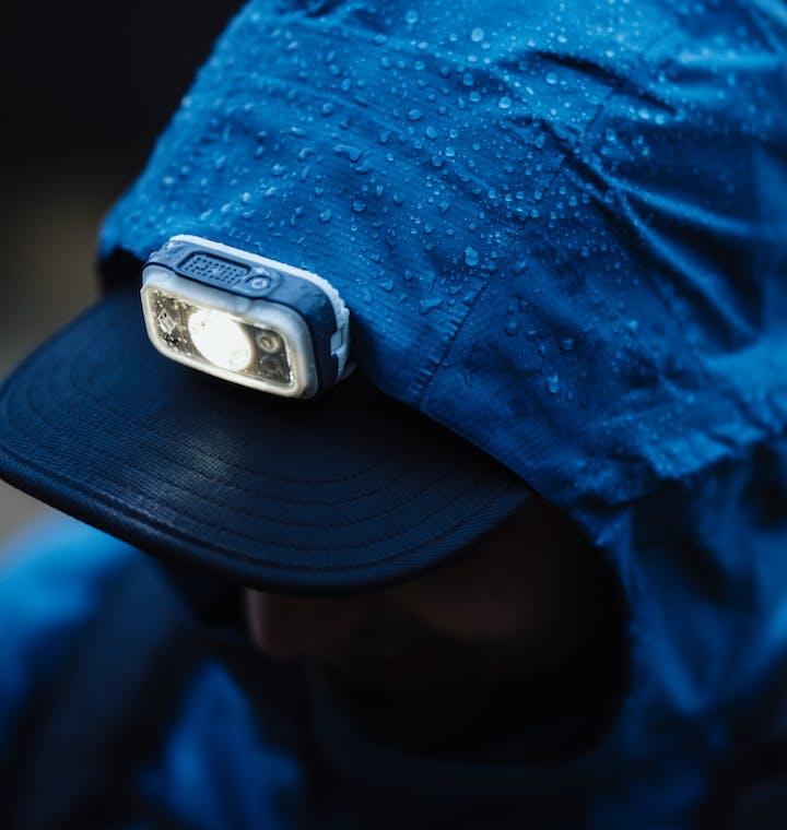 water beading on waterproof shell jacket