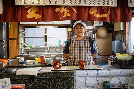 Udon noodle shop worker