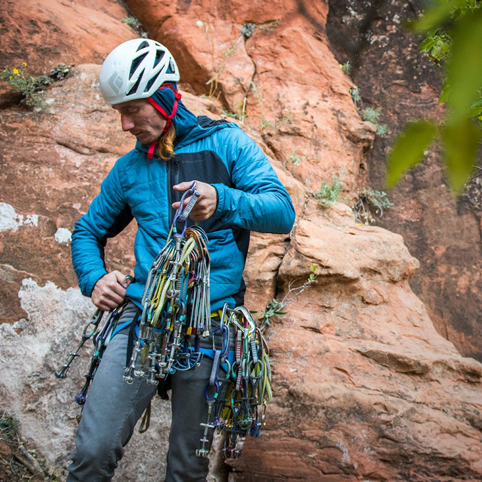 Photograph by Andy Earl of Big Wall Paul with rock climbing gear.