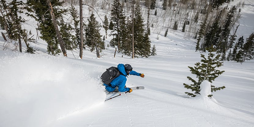 skier going into a turn