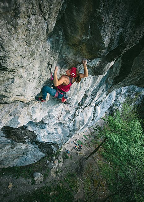 Photo of Babsi Zangerl rock climbing.
