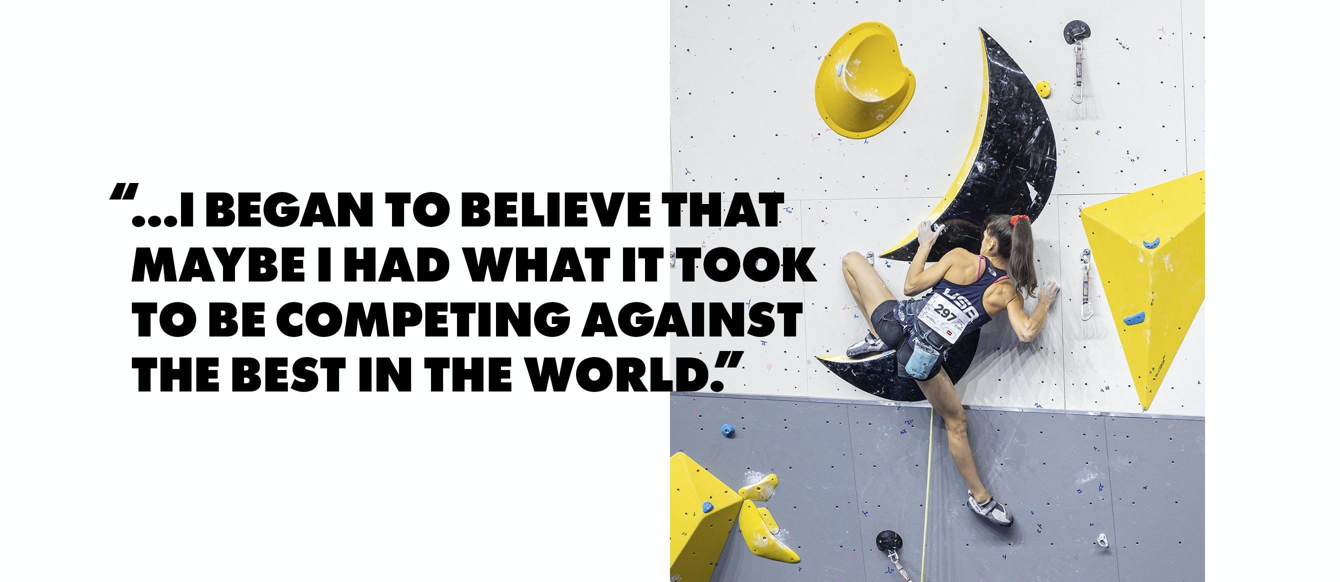 Pull quote with Black Diamond Athlete Natalia Grossman bouldering.