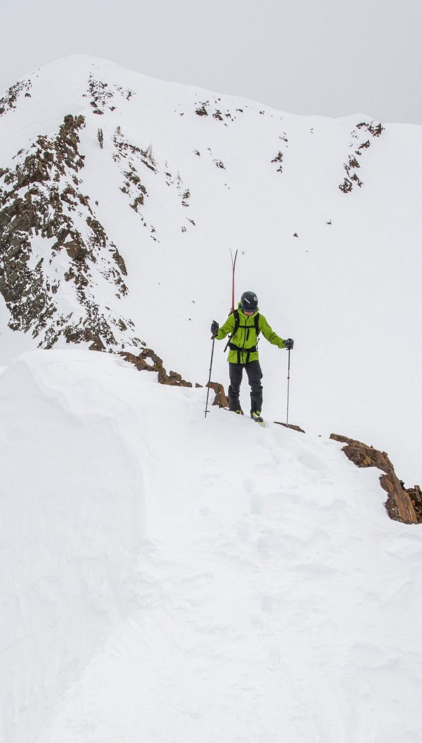Person out ski touring