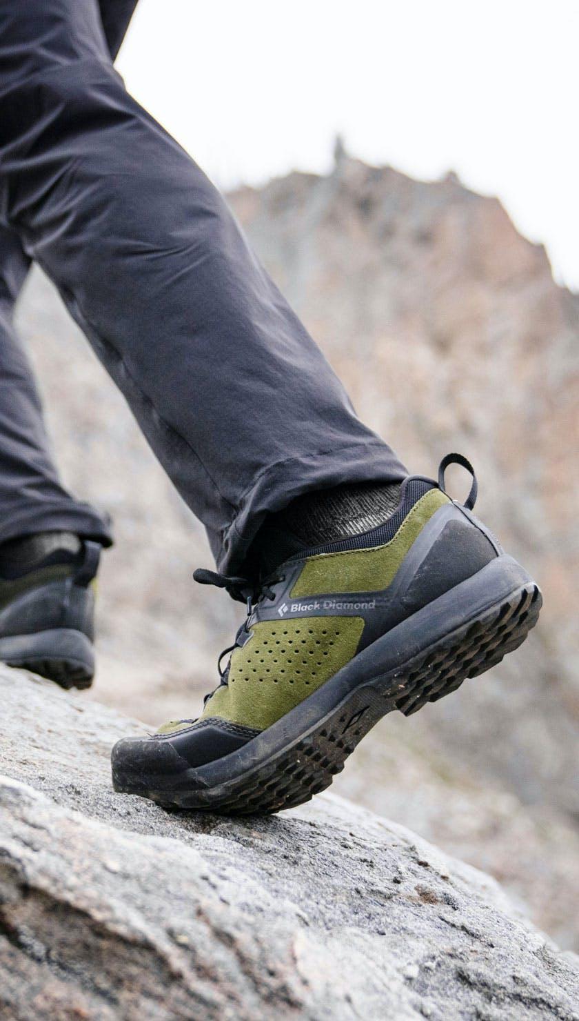 A hiker wearing the Black Diamond Mission XP Approach Shoe