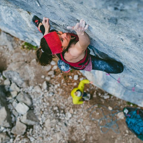 Black Diamond athlete Babsi Zangerl climbing a sport route