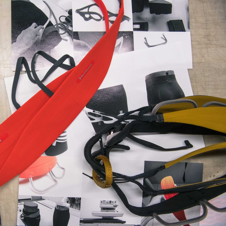 A photo by Andy Earl of harness prototypes and technical drawings