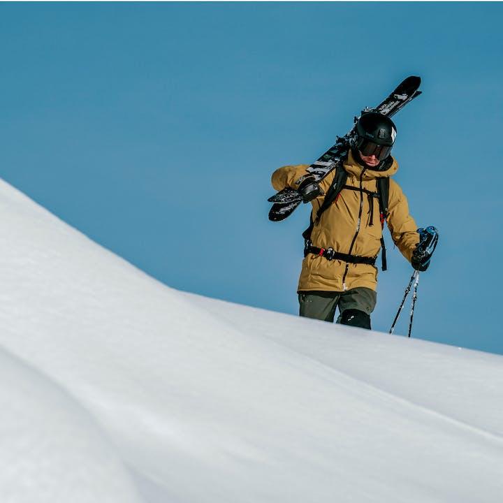 Black Diamond Athlete Tobin Seagel boot packing with the Impulse 112 ski.