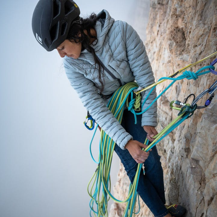 Photograph by Paolo Sartori of Daila Ojeda climbing outside