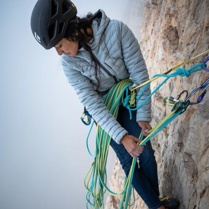 Photograph by Paolo Sartori of Daila Ojeda climbing outside