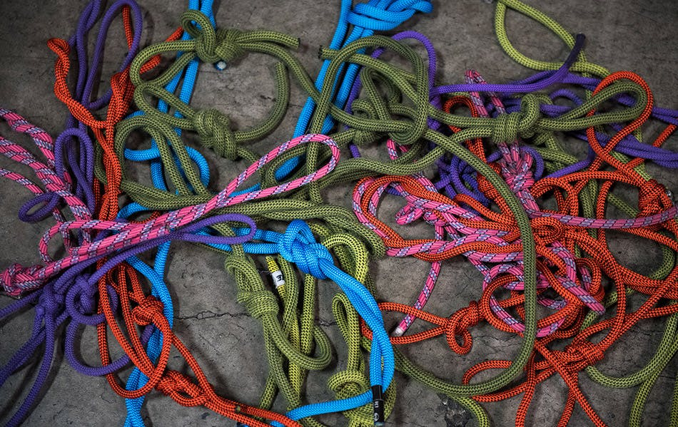 All the tested ropes laid out