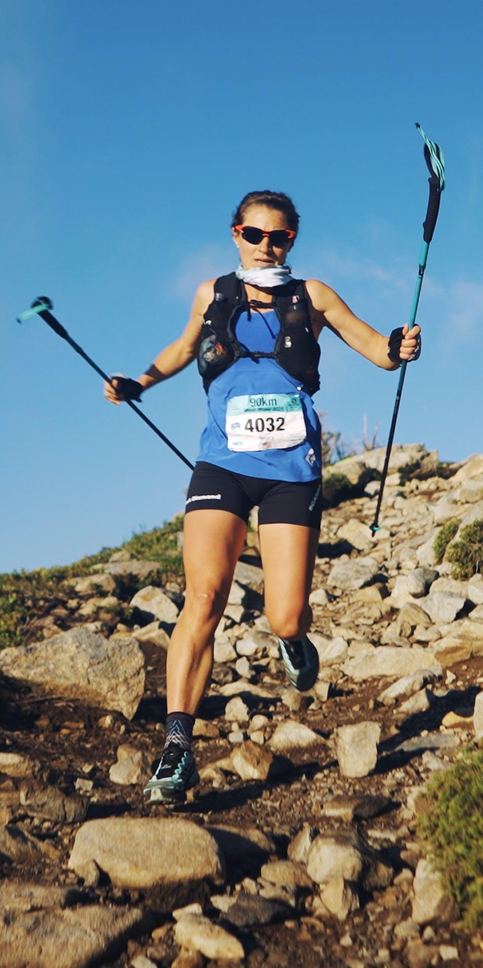 Black Diamond athlete Hillary Gerardi at the Mont Blanc finish