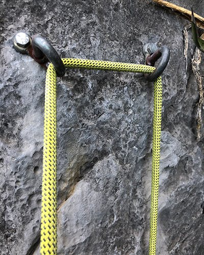 rope threaded through a not ideal anchor
