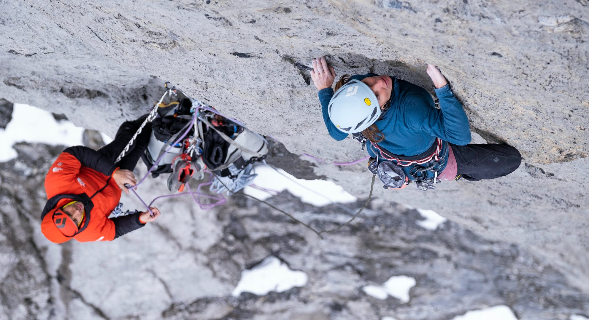 Black Diamond athletes Babsi Zangerl and Jacopo Larcher climbing the Eiger