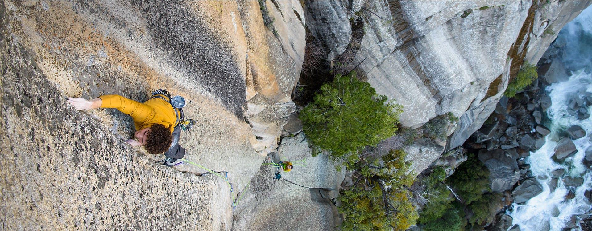 man climbing a crack