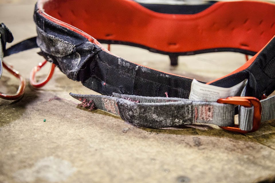 close up photo on the deterioration of the harness after testing.