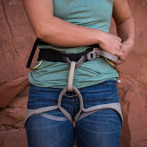 woman wearing harness
