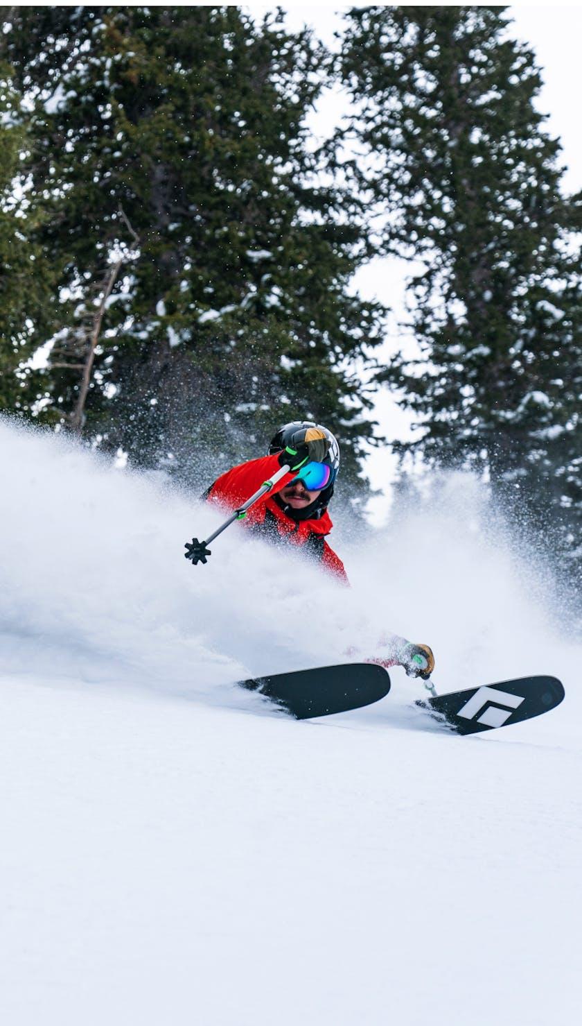 Black Diamond Ambassador Turner Petersen skiing the Impulse 112 Skis.