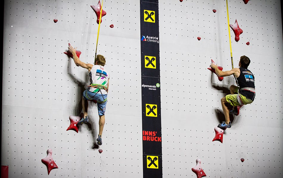 two climbers on the speed wall