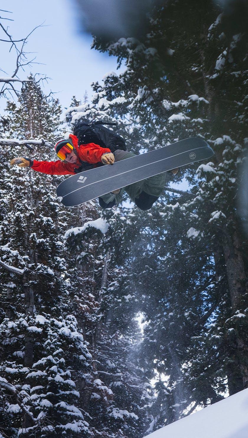 Black Diamond and Cardiff Snowcraft Athlete Bjorn Leines poking a method on his splitboard.